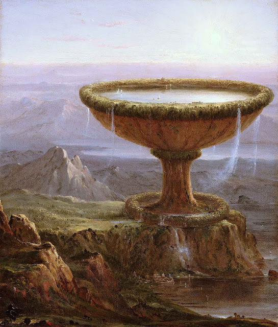 an 1833 Thomas Cole painting of a giant water bowl