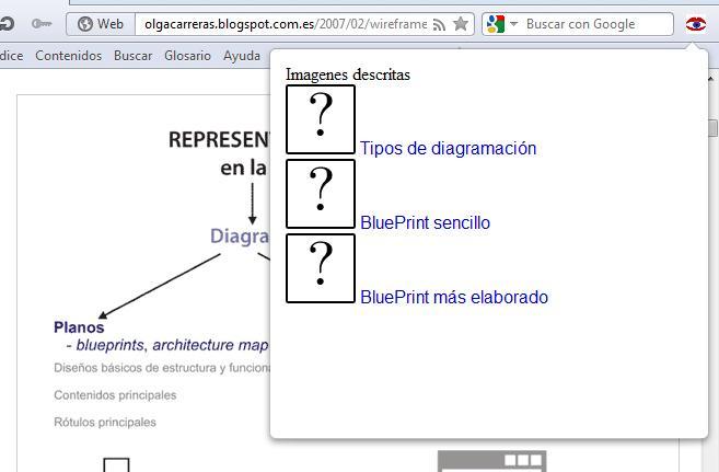 Navegador Opera. El icono de un ojo junto a la barra de direcciones está activado. Se muestra una capa emergente con un listado de imágenes, por cada una hay una miniatura con un interrogante y el contenido del alt de la imagen.