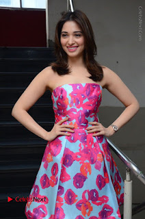 Actress Tamanna Latest Images in Floral Short Dress at Okkadochadu Movie Promotions  0012.JPG