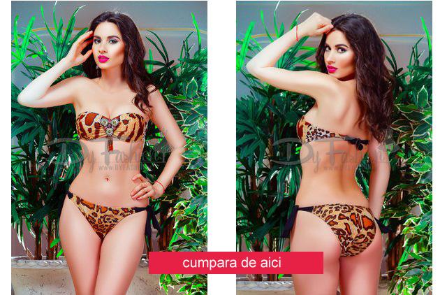 Costum de baie la moda din doua piese cu print leopard