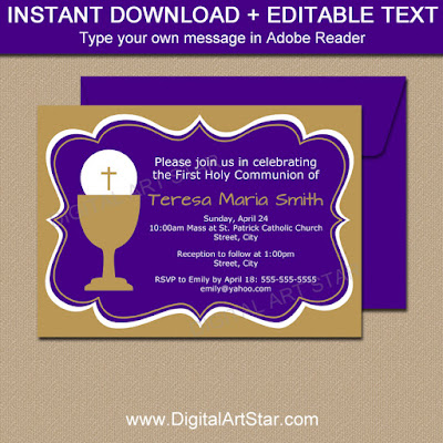 Girl First Communion invitation in purple and gold with editable text