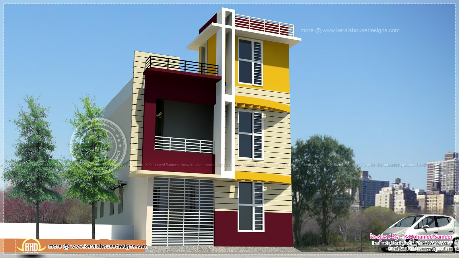 Tamilnadu style 3 storey house elevation kerala home for Tamilnadu house designs photos