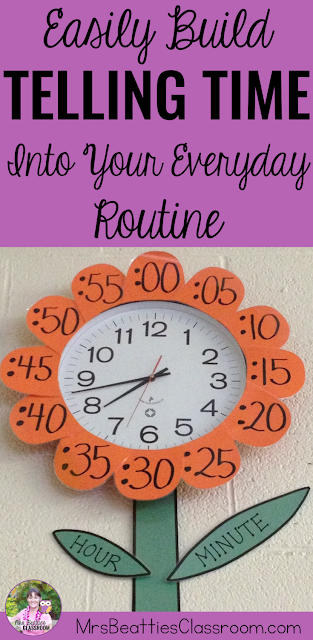 "Clock with petals containing minute numbers, hour hand, and minute hand with text that says, ""Easily Build Telling Time Into Your Everyday Routine."""