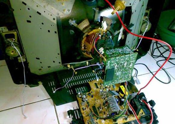 Bagian dalam body belakang TV yang berisi semua komponen mesin televisi