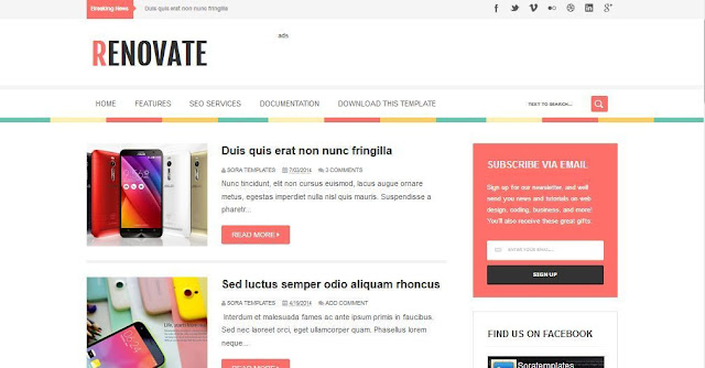 Renovate - Template Blog Simple Sederhana Gratis