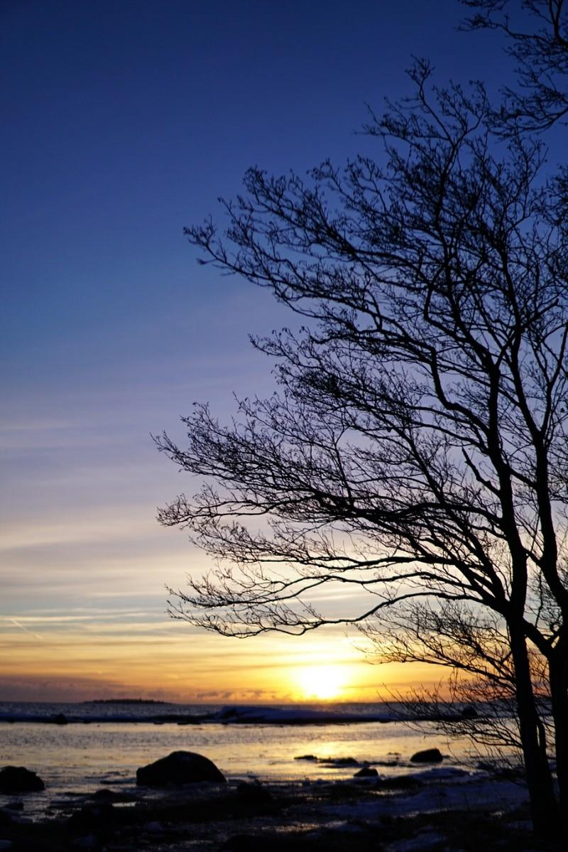 Itämeri, auringonlasku, meri