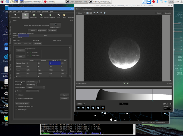 Screen Shot of capturing Lunar Eclipse Images on ATEO-1 using TheSkyX in New Mexico remotely from Malbork, Poland.