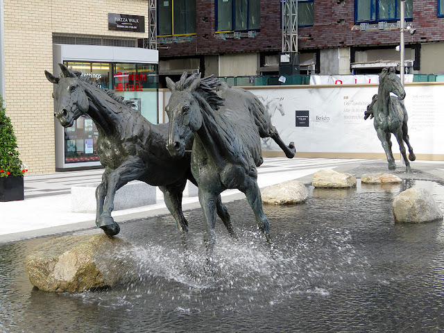 Three of the six horses by Hamish Mackie, Goodman's Fields, City of London, London