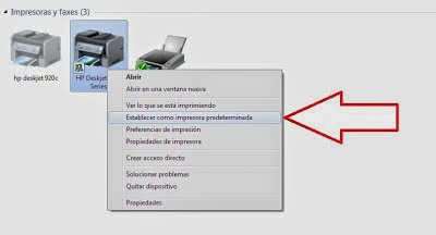 set defaut printer in windows