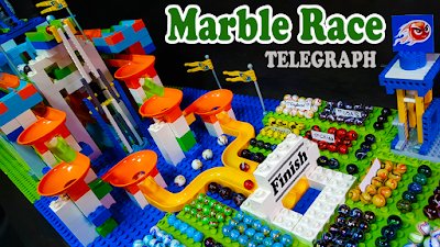 MARBLE RACE with TELEGRAPH and FUNNEL -  Quick Country Marble Battle - carrera de canicas
