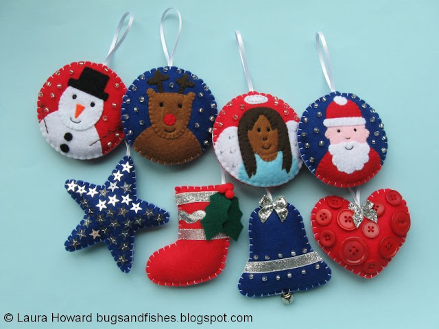 set of felt Christmas ornaments