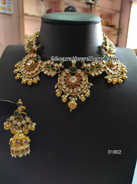 Fancy Polki Choker with Jhumkas