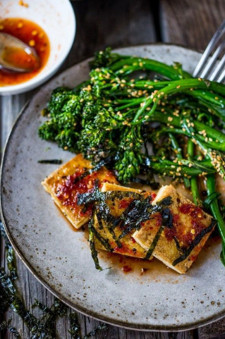 chili garlic tofu with sesame broccolini
