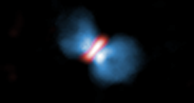 Orion KL Source I observed with ALMA. The massive protostar is located in the center and surrounded by a gas disk (red). A bipolar gas outflow is ejected from the protostar (blue). Credit: ALMA (ESO/NAOJ/NRAO), Hirota et al.