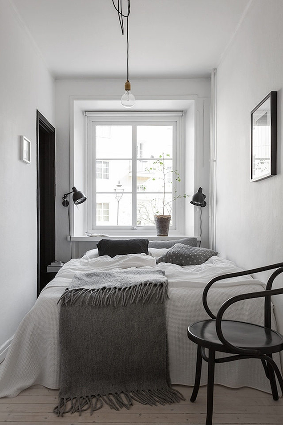 Black and white scandinavian bedroom. Alvhem