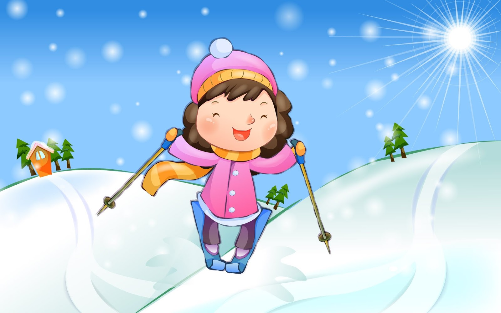 День, картинки с лыжниками для детей