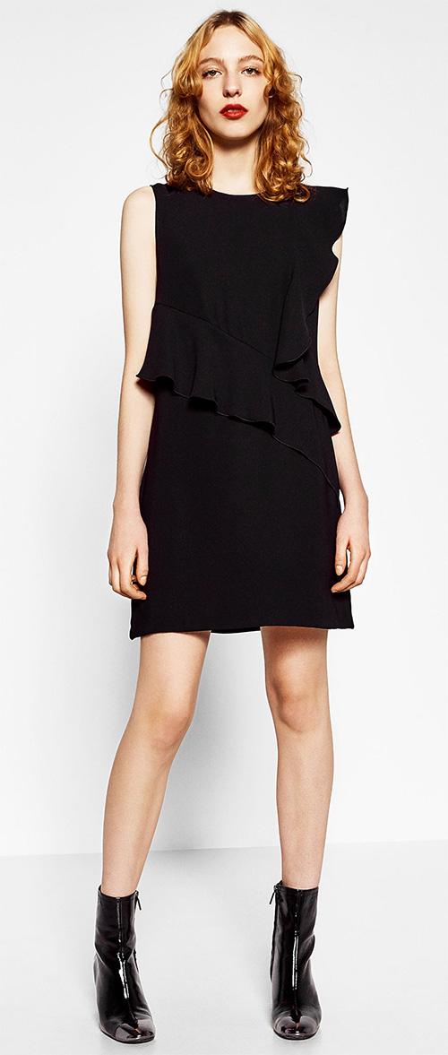 Robe courte noire à volants Zara