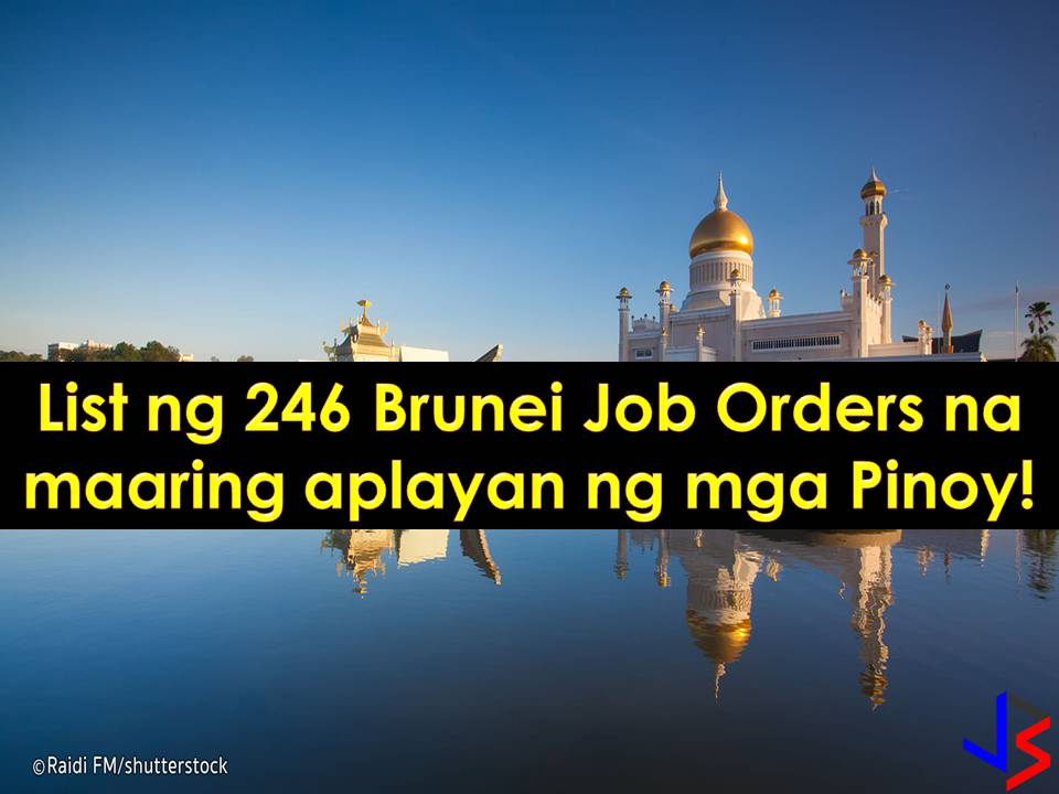 If you are looking for a place to work abroad, why not consider Brunei? Yes, this is a tiny country but much nearer to the Philippines compared to other destinations of Overseas Filipino Workers.  This tiny state is one of the world's highest standard of living because of its bountiful oil and gas reserves. Every year, the country is employing Filipinos, both skilled or unskilled workers in the different field.  This December 2017, the Philippine Overseas Employment Administration (POEA) has approved 400 job orders to Brunei.  The country is in need of the following workers; technicians, shop assistant, household service workers, salesgirls, construction workers and laborers, butchers, cook, waiter and waitress, teachers and many others.  Please reminded that we are not recruitment agencies, all information in this article is taken from POEA website and being sort out for much easier use. The contact information of recruitment agencies is also listed. Interested applicant may directly contact the agencies' representative for more information and for the application. Any transaction entered with the following recruitment agencies is at applicants risk and account.