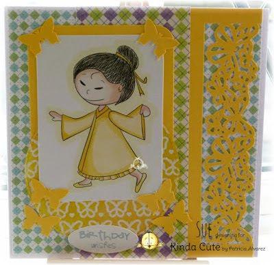 card using asian girl digital stamp. Kinda Cute by Patricia Alvarez