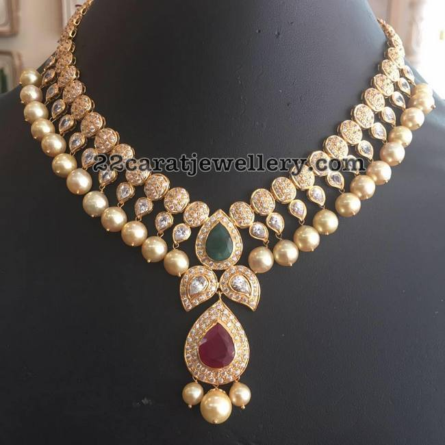 Large pearls cz necklace jewellery designs round cz stones mango motifs attached two rows 22 carat gold necklace with large round south sea pearls hanging in the bottom and leafy design pretty mozeypictures