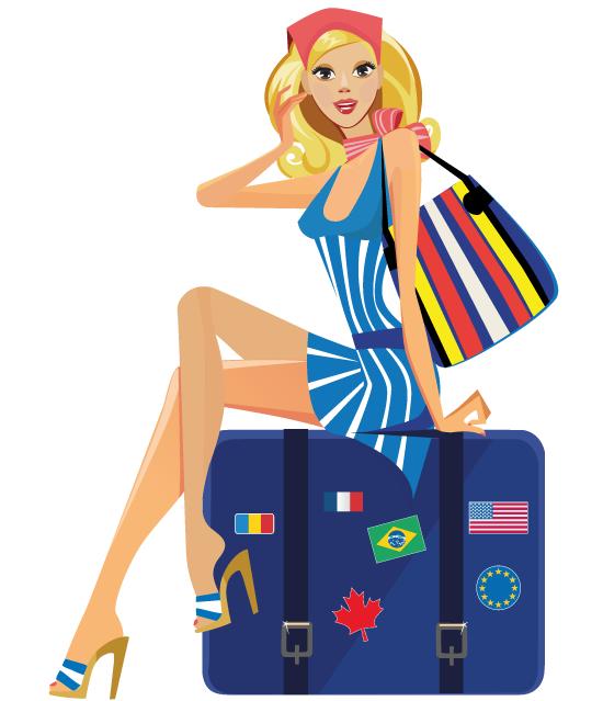 Chica de vacaciones en tonos celestes - vector