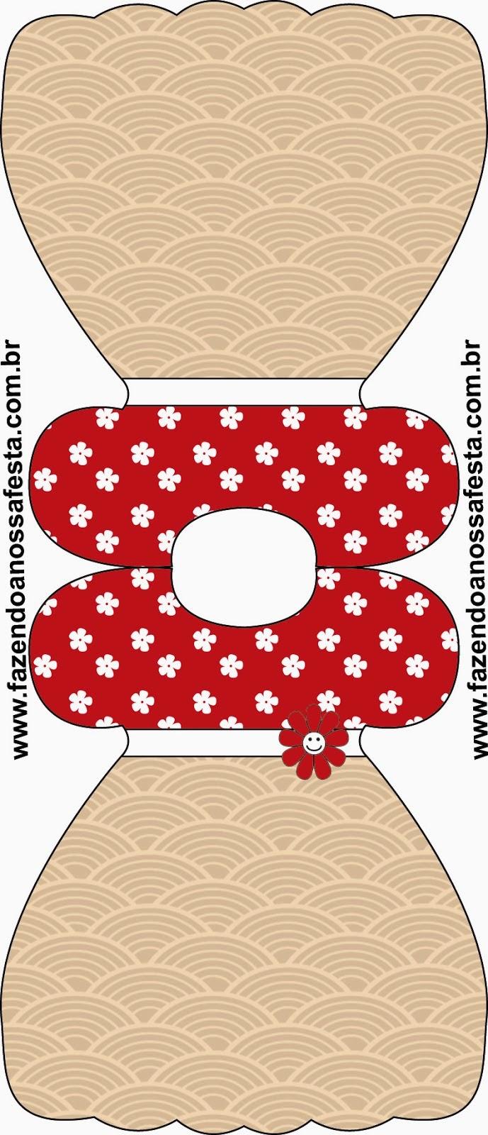 Tarjeta con forma de Vestido para Imprimir Gratis de Fiesta Estilo Japonés.