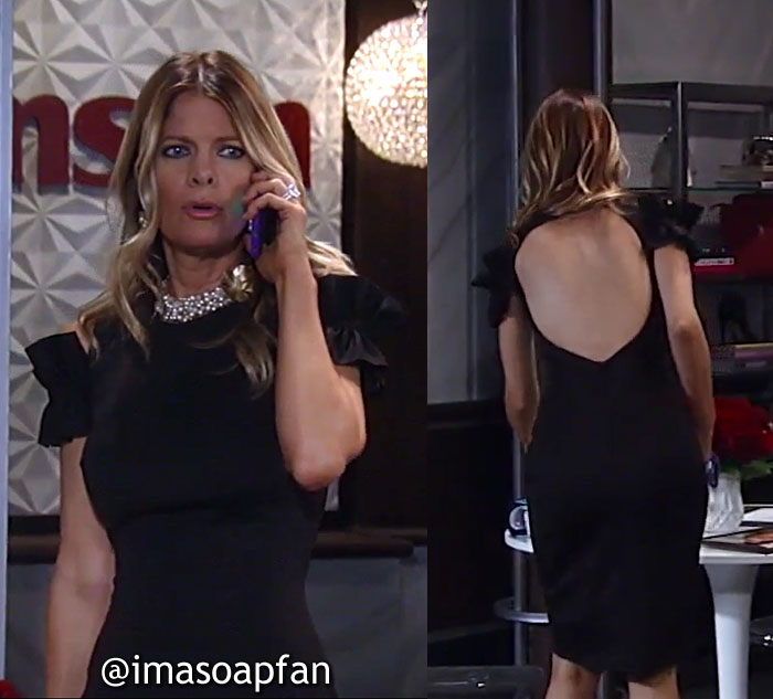 Nina Reeves, Michelle Stafford, Black Cold Shoulder Dress with Open Back - General Hospital, GH