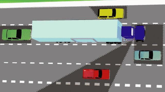Hati-Hati Berkendara Dekat Truk Area Ini Tak Terlihat Sopir