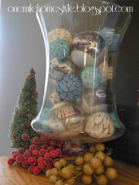 Vintage Christmas ornaments mixed with blue and white