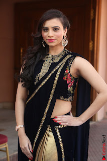 Priyanka Ramana in Beautiful Designer Black Saree At We Craft Elegance Expo Launch 050.JPG