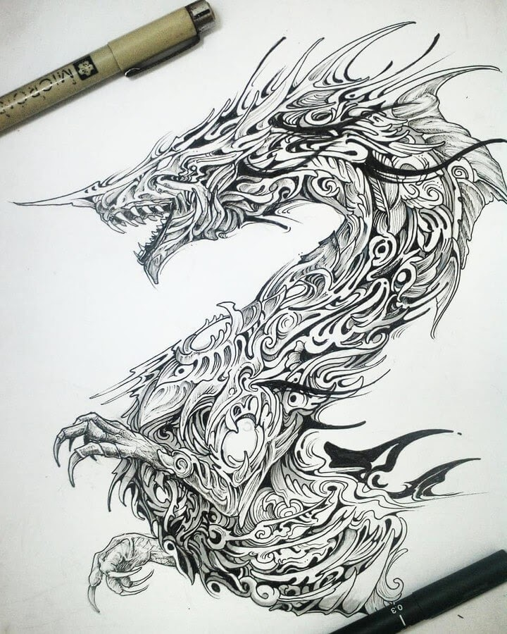 05-Dragon-Animal-Drawings-Syahid Zain-www-designstack-co