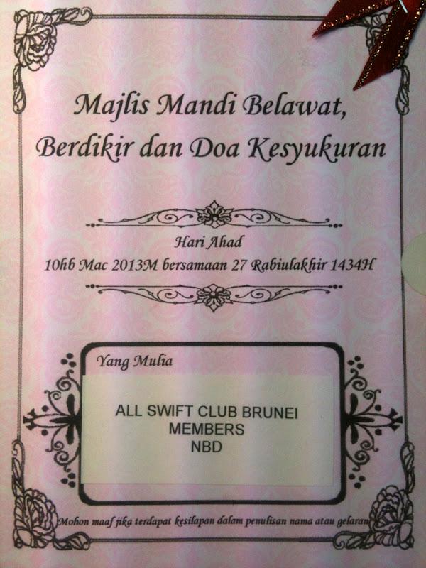 Majlis Mandi Belawat Berdikir Dan Doa Kesyukuran Swift Club Brunei