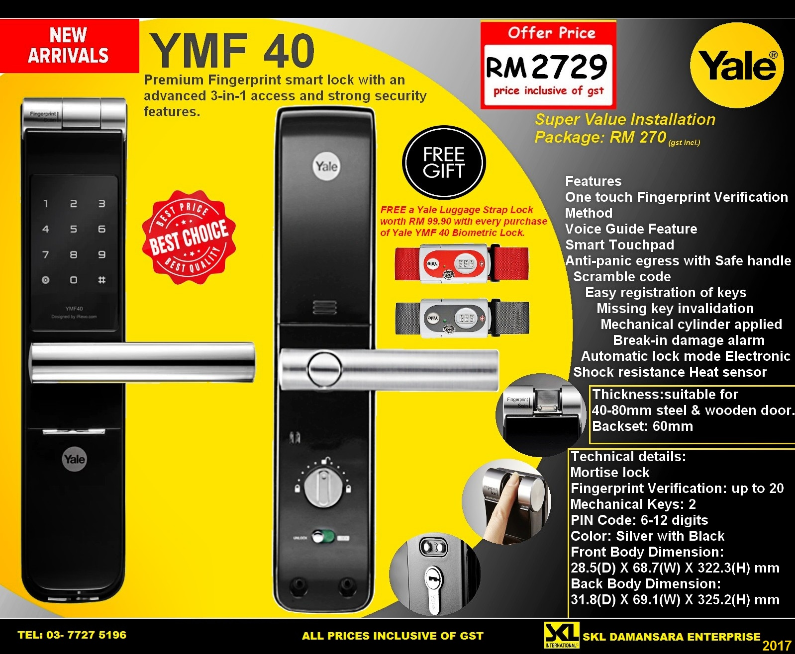 New Arrival!! Yale YMF 40 Biometric Digital Door Lock now at RM 2729 Only!!