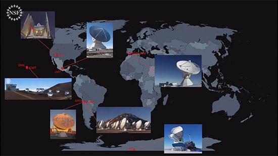 Radio telescopes making up the interferometric Event Horizon Telescope (NSF News Conference, April 10, 2019)