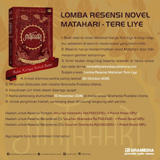 Lomba Resensi Novel 2016 dari Gramedia