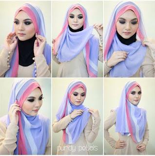 Kreasi Hijab Dua Warna Pesta