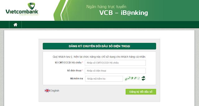 vietcombank, Cách đổi số điện thoại đăng ký ngân hàng từ 11 số sang 10 số tại nhà