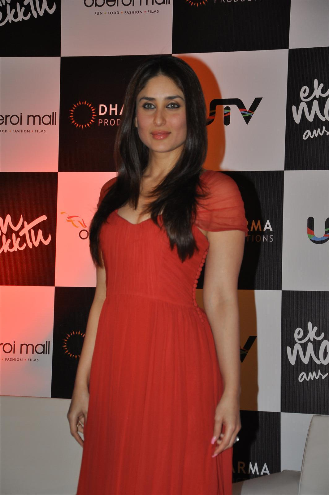 Actress Kareena Kapoor Long Hair Stills In Red Gown