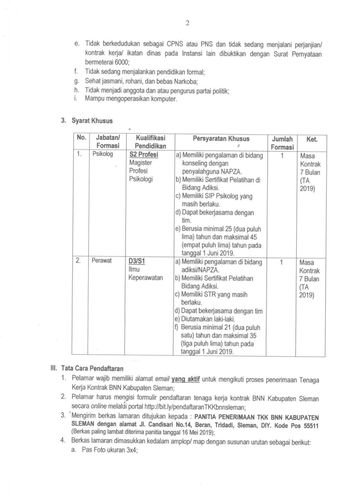 Rekrutmen Terbaru Badan Narkotika Nasional Kabupaten Sleman