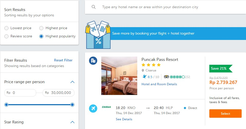 Cari Tiket Pesawat dan Booking Hotel di Traveloka