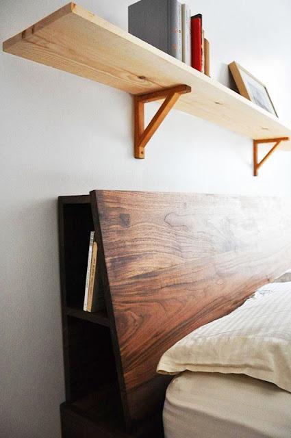 tete de lit en bois avec rangement