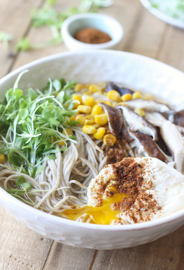 Miso soba noodle soup by SeasonWithSpice.com