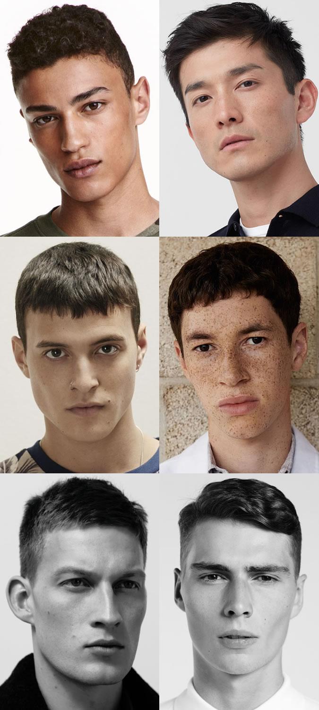 Cortes da equipe dos homens e penteados franceses da colheita e cara barbeada limpa