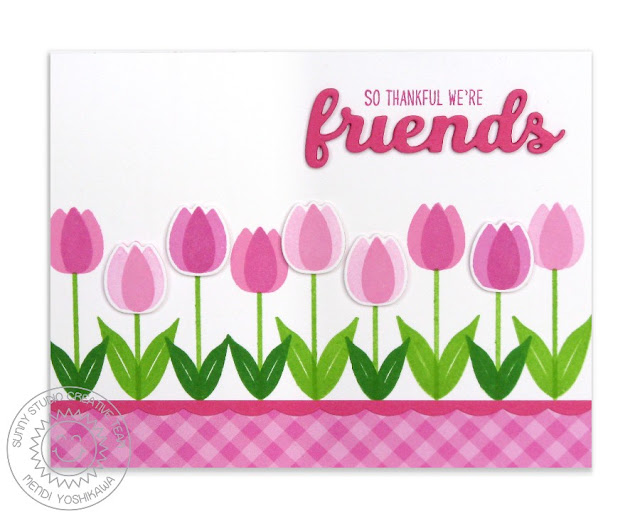 Sunny Studio Stamps: Friends & Family Tulip Border Card by Mendi Yoshikawa