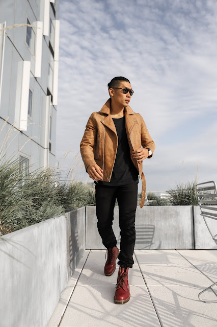 Leo Chan wearing Brown Leather Jacket and Oxblood Dr Marten Combat Boots
