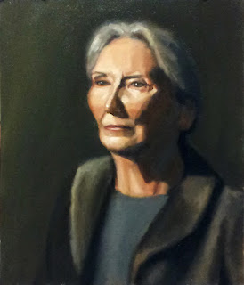 Oil painting of a woman with grey hair wearing a dark-coloured coat.