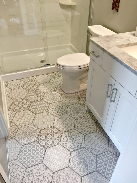 hexagon tiled floors