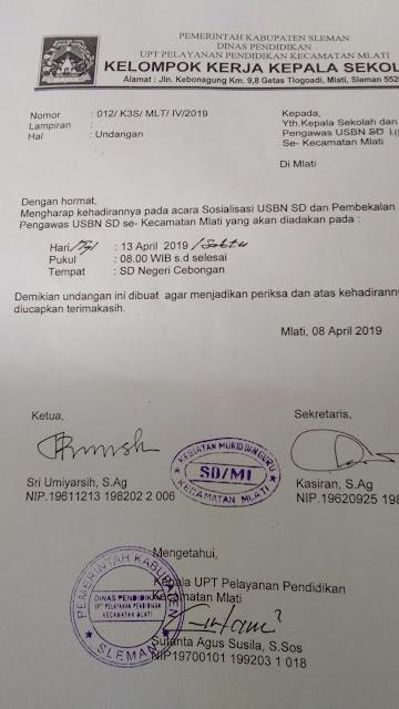 Contoh Surat Undangan Sosialisasi USBN dan Pembekalan Pengawas USBN