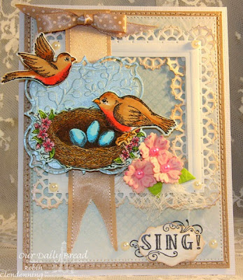 Our Daily Bread Designs, Spread Your Wings, Antique Labels and Border, Layered Lacey Squares, Birds and Nest, Flourished Star Pattern, Shabby Rose Collection, Designed by Robin Clendenning