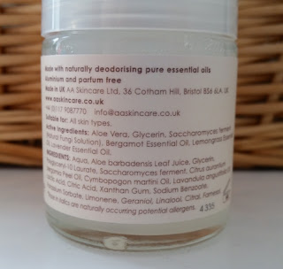 AA Skincare Deodorant Lemongrass and Lavender Ingredients